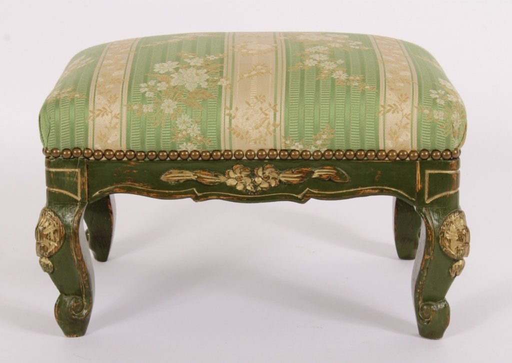 Louis XV Style Footstool, Carved & Painted