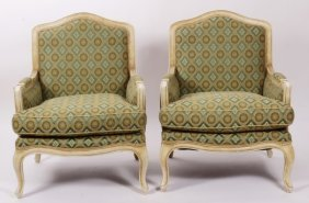 Pair. Fr. Provincial-Style Bergeres, Green & Olive