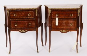 Pr Louis XV-Style Marbletop & Inlaid Commodes