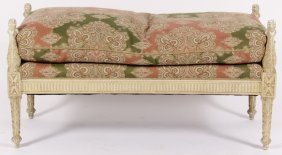 Louis XV-Style Bench w Paisley Upholstery