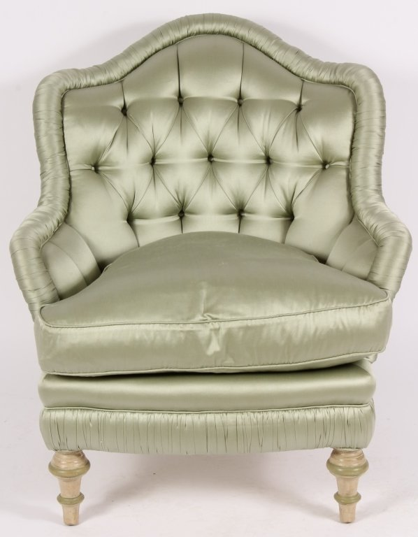 Sage Satin Upholstered Tufted Armchair