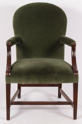 Mahogany Open Armchair w Green Velvet Upholstery