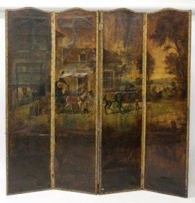 4-Fold Victorian Painted Screen, Coach & Inn