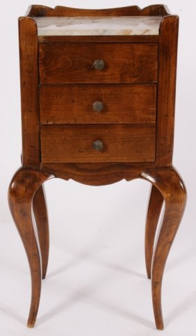 Diminutive French Marbletop 3 Drawer Side Table