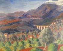 Fr Sch c 1940 Landscape w Viaduct OC