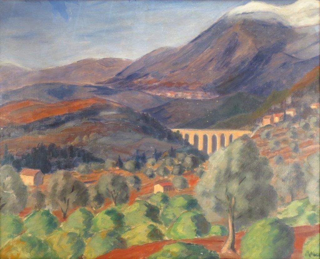 Fr. Sch, c. 1940, Landscape w Viaduct, O/C