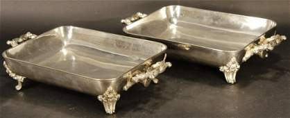 Pair of Antique Silverplate Warming Dishes