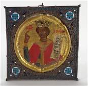 Greek Icon in Filigree and Enamel Frame 17th18th c