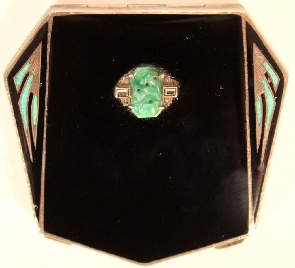 Art Deco Sterling, Enamel & Jade Compact, c. 1920
