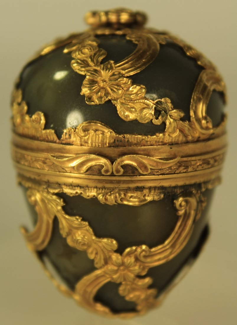 Gold Cagework & Agate Egg, 19th or 18th c.