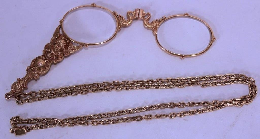 Gold Lorgnette & Chain