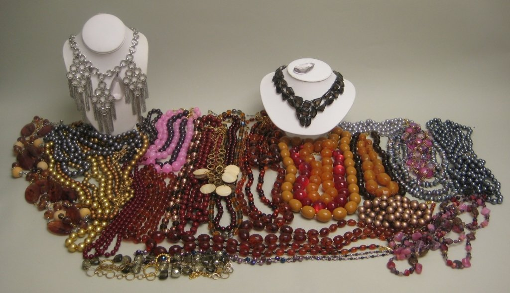 Amber Colored Beaded Necklaces & Others
