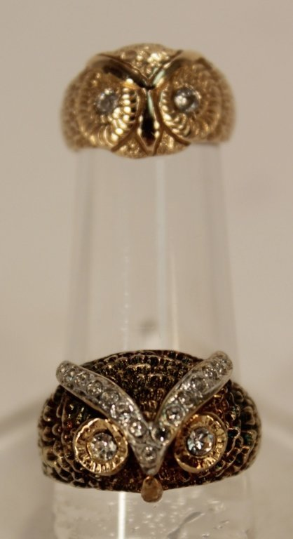 Two Gold & Diamond Owl Rings; 14k & 10k