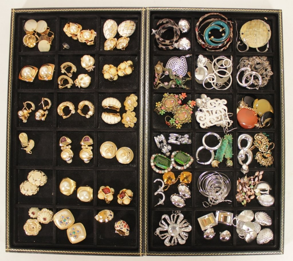Lot of Enamel Clip Earrings and Others