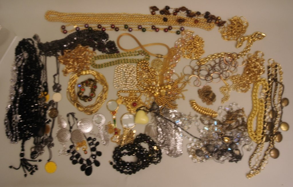 Large Lot of Beaded & Metal Necklaces