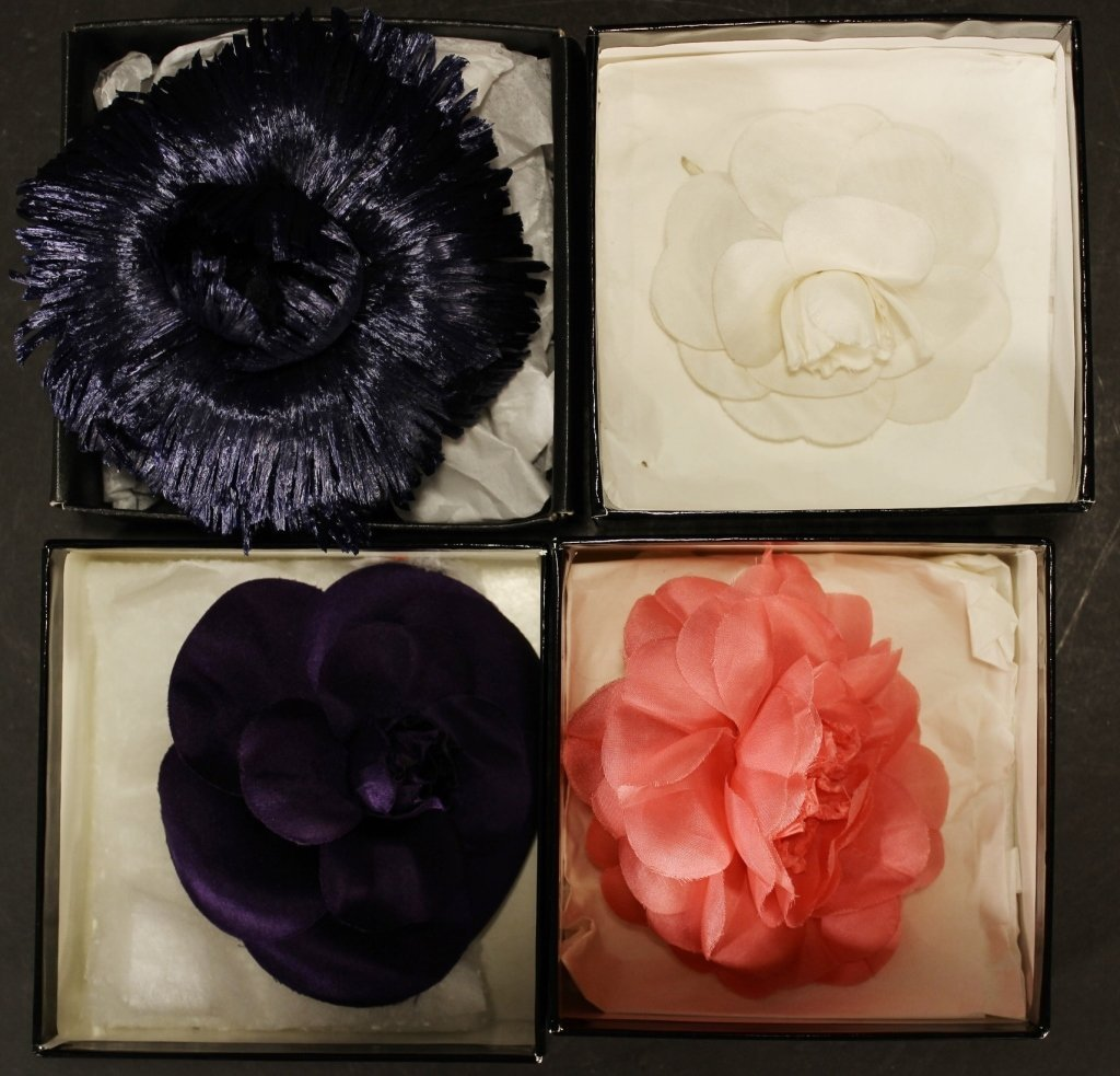 Lot of Four Flower Pins by Chanel