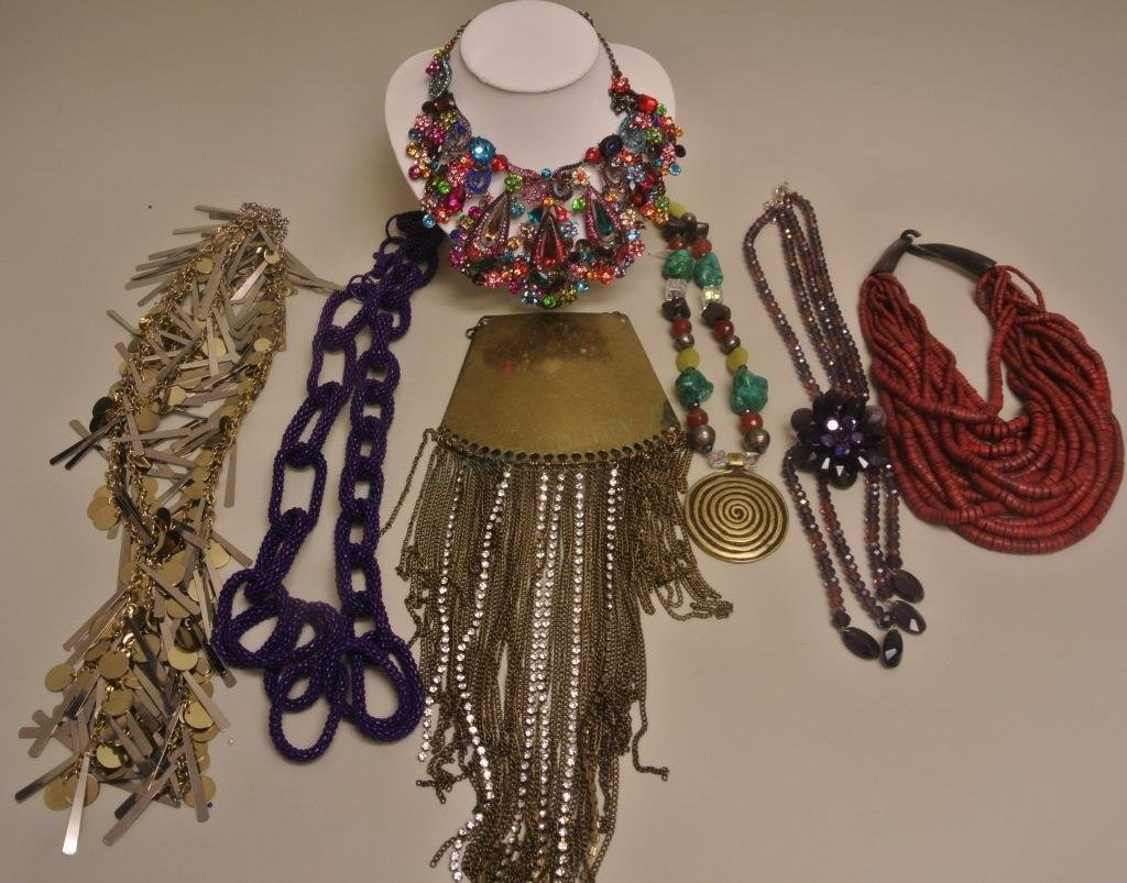 Purple Beaded Chain Link Necklace & Others