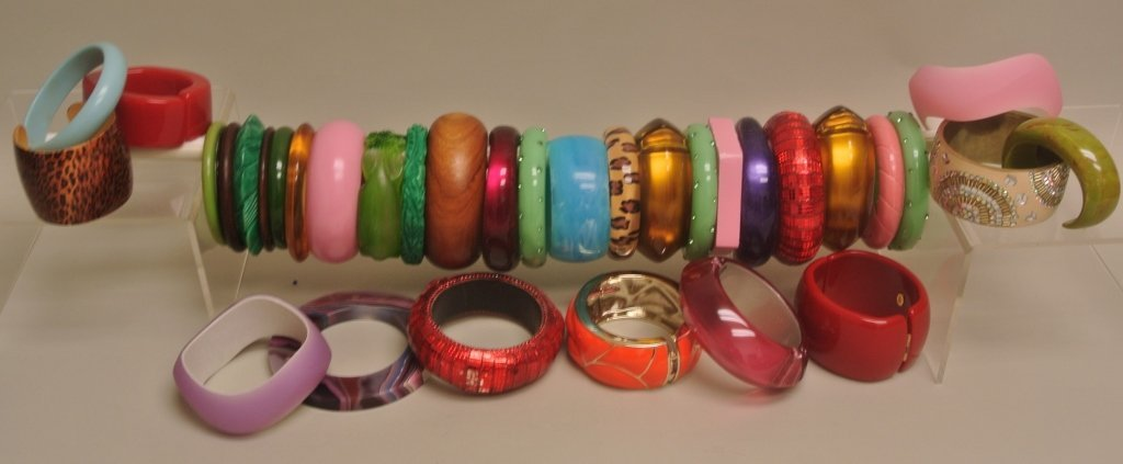 Large Lot of Bangles; Carved & Faux Bakelite