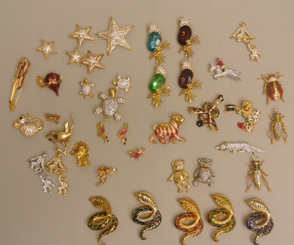 Large Lot of Figural Pins by Joan Rivers