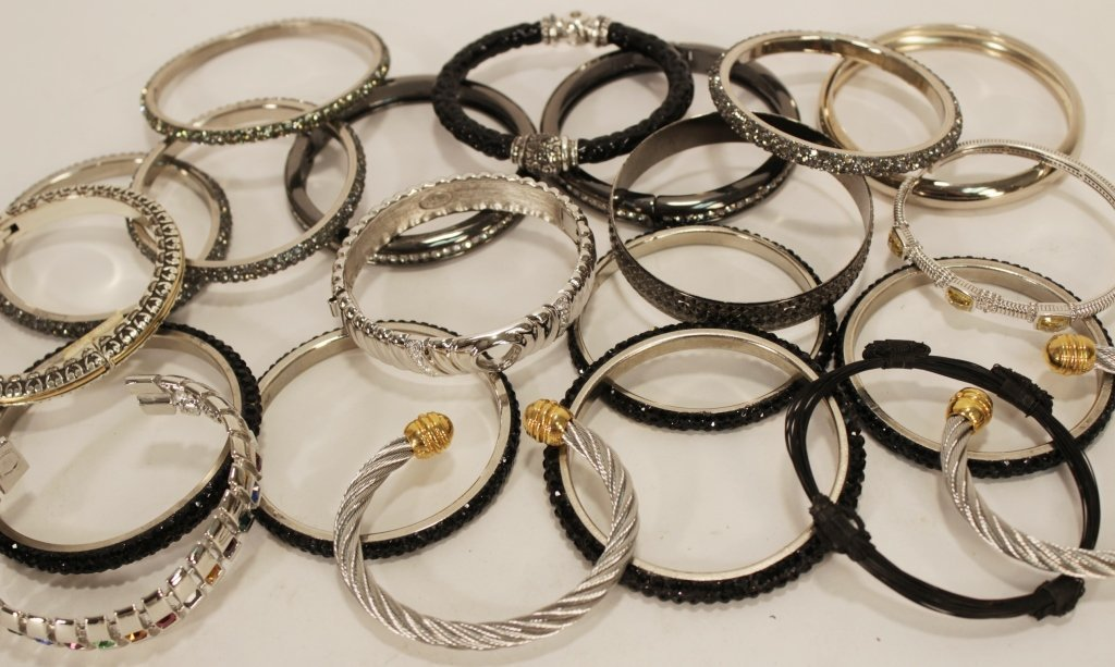 Lot of Silver Tone Costume Bangles