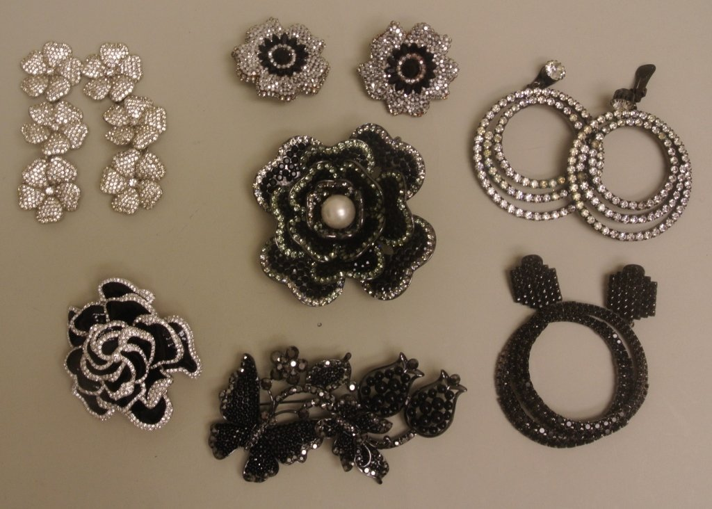 Seven Costume Pins and Earrings
