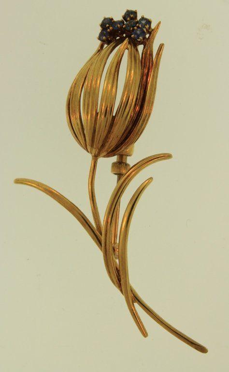 Cartier 14K Gold and Sapphire Flower Pin
