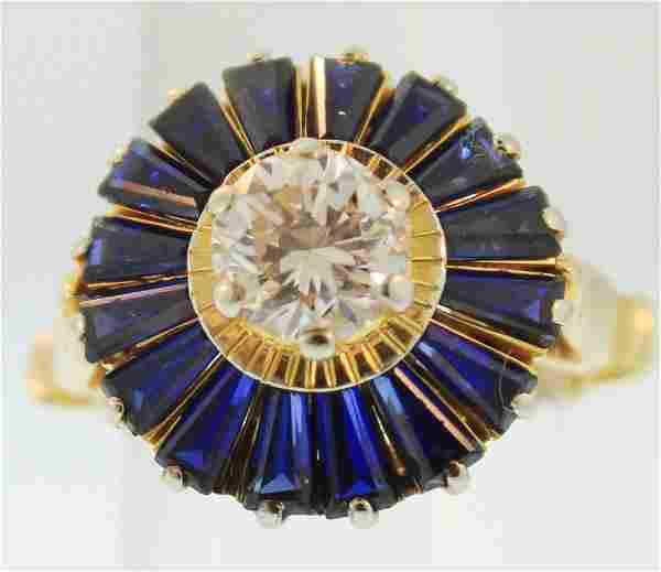 14K Yellow Gold Diamond & Sapphire Ring