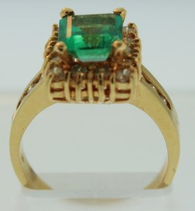 14K Yellow Gold Emerald Cut Emerald & Diamond Ring