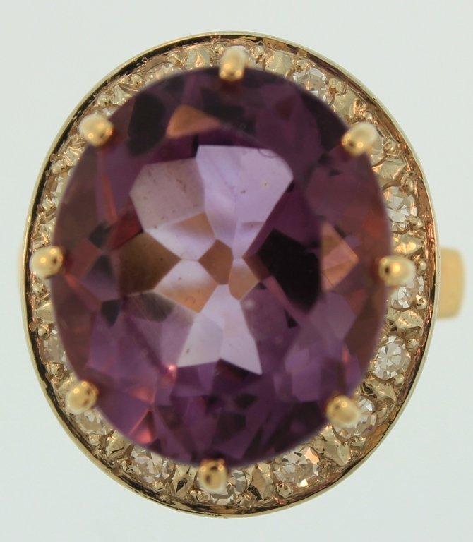 14K Yellow Gold Diamond & Amethyst Ring