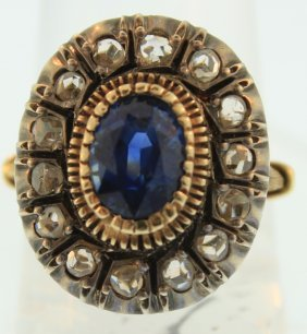 Silver on Yellow Gold Sapphire & Diamond Ring