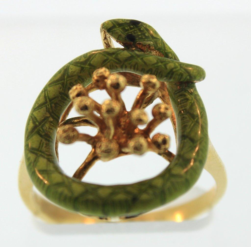 18K Yellow Gold & Green Enamel Snake Ring