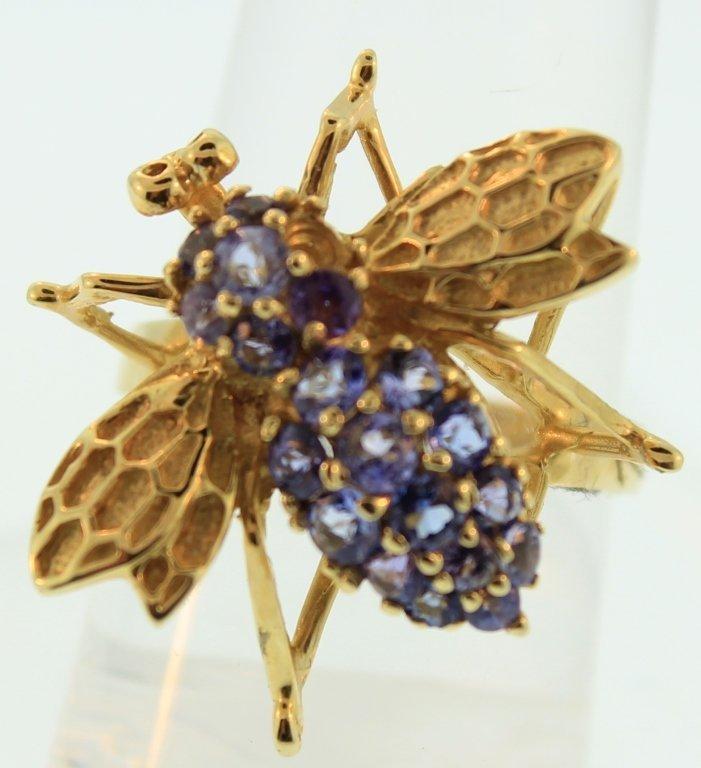 14K Yellow Gold & Tanzanite Bee Ring