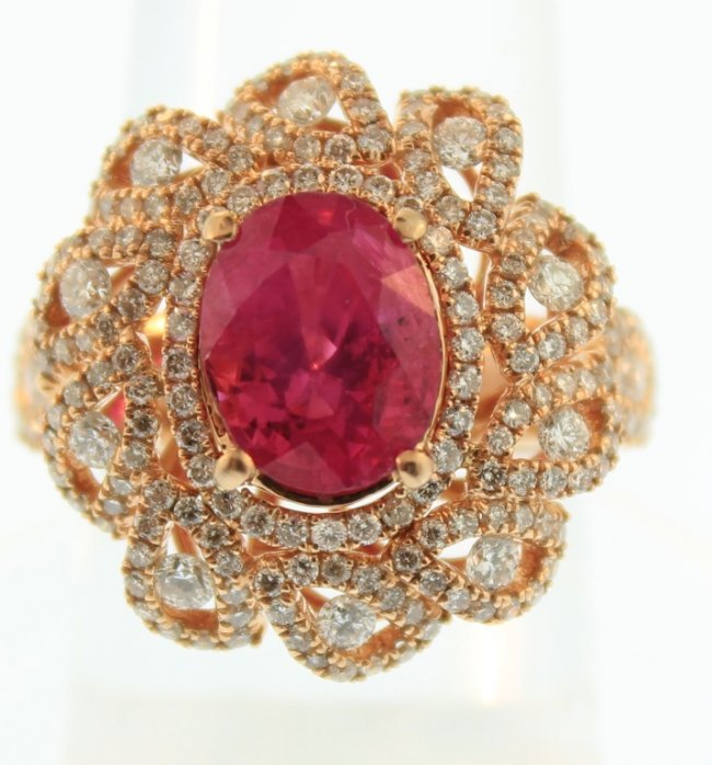 18K Pink Gold Ruby & Diamond Ring