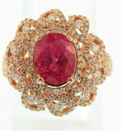 18K Pink Gold Ruby & Diamond Ring
