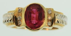 14K Two-Tone Gold Ring Rubelite Diamond Ring