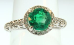 18K White Gold, Emerald & Diamond Ring
