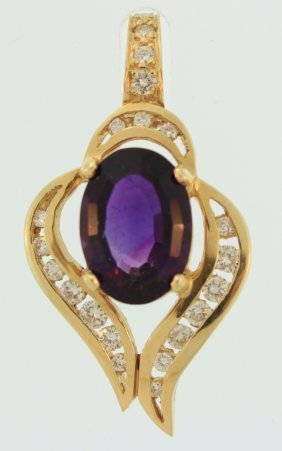14K Yellow Gold, Amethyst & Diamond Enhancer