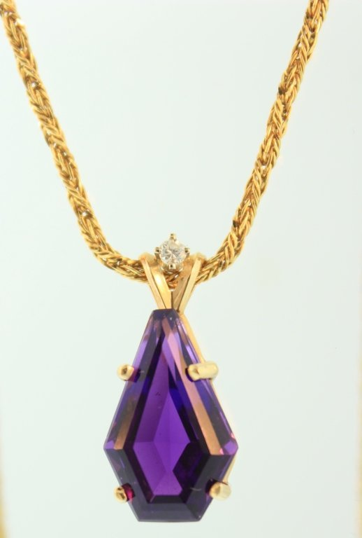 Amethyst & Diamond Pendant on 14K Italian Chain