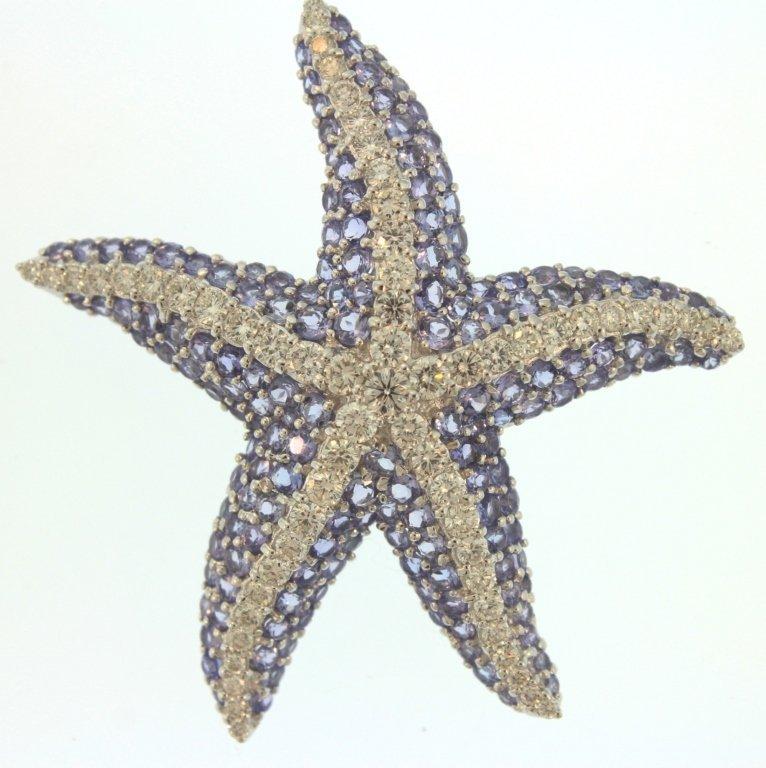 18K White Gold Diamond & Tanzanite Starfish Brooch