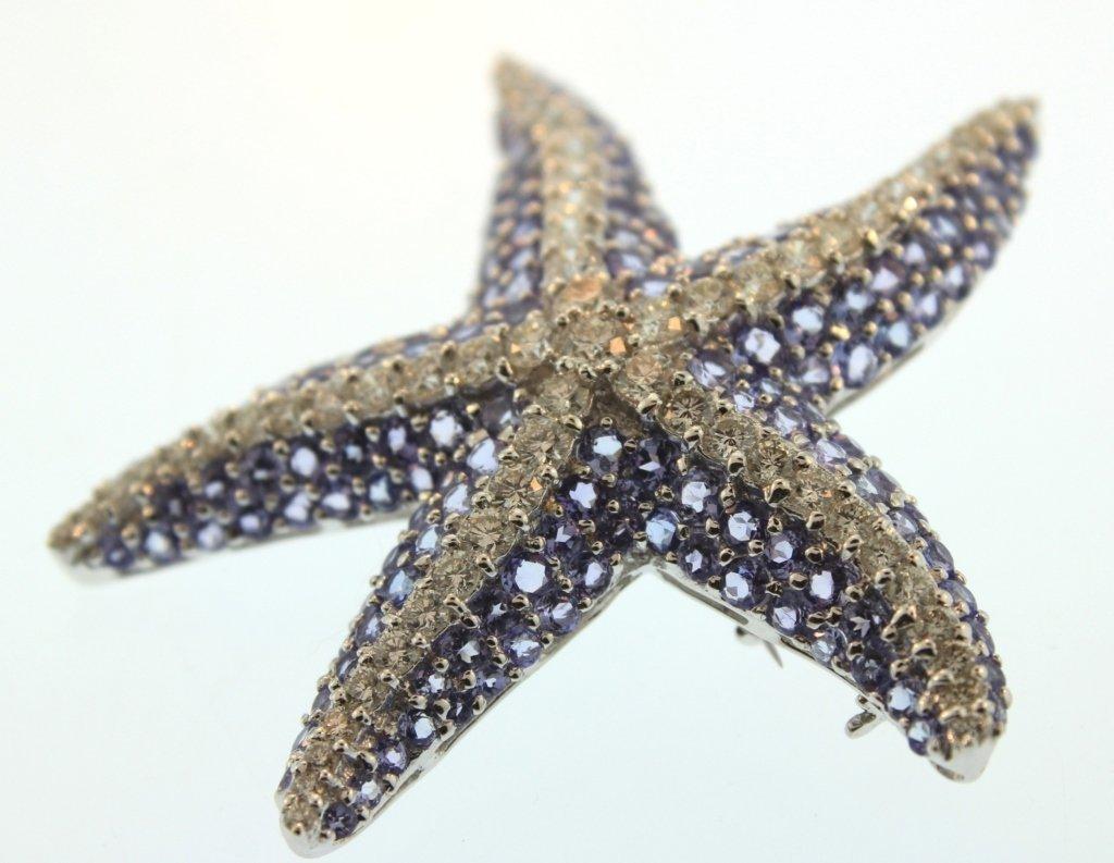 18K White Gold Diamond & Tanzanite Starfish Brooch - 2