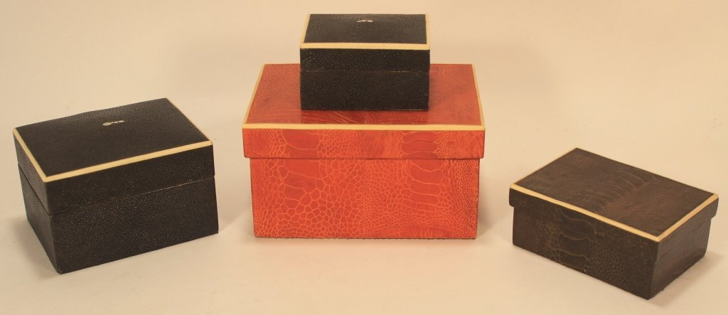 R & Y Augousti Boxes in Shagreen and Snake Skin
