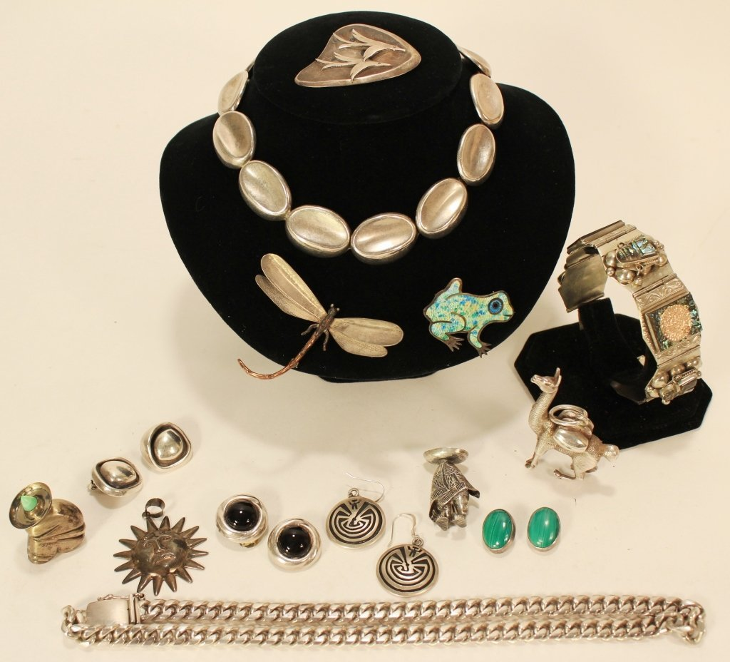 14 Vintage Sterling Silver Mexican Jewelry Pieces