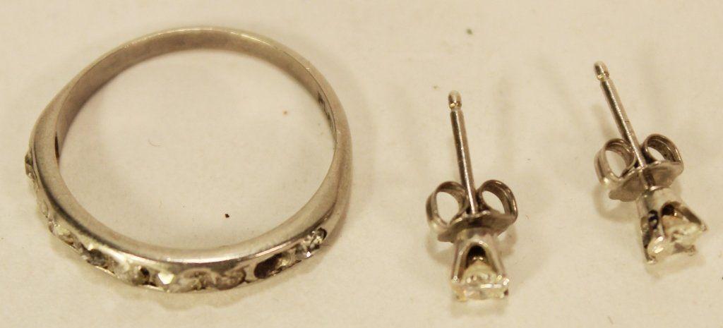 Pr of Diamond Stud Earrings & Ring