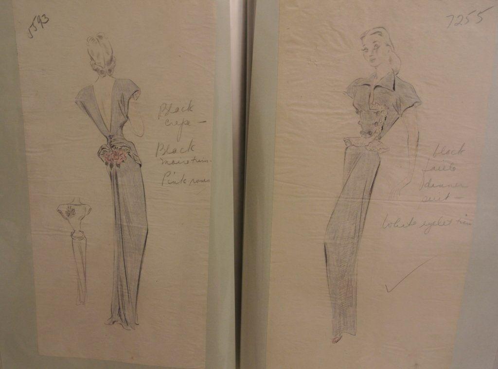 Two Folios of c. 1947 Fashion Drawings
