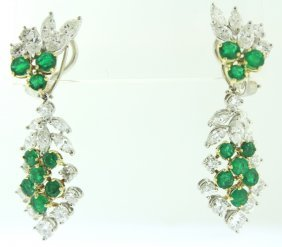 Platinum, Diamond & Emerald Pendant Earrings