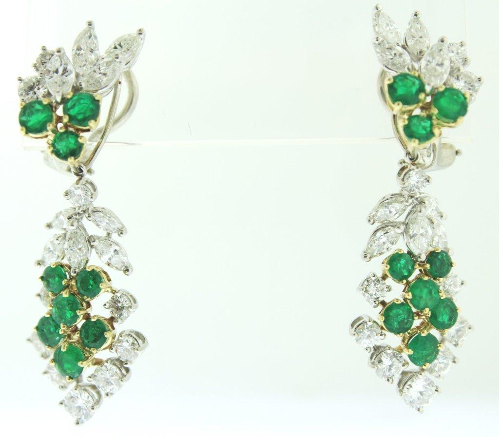 Platinum, Diamond & Emerald Pendant Earrings