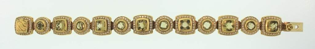 David Yurman 18K Diamond & Citrine Bracelet