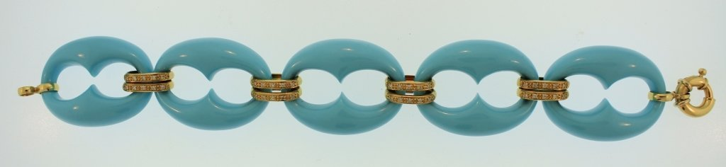 18K Gold, Diamond & Composite Turquoise Bracelet