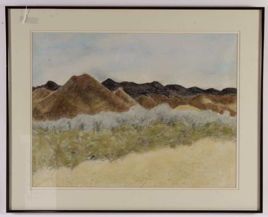 Am. School, Toward Tombstone, pastel, signed