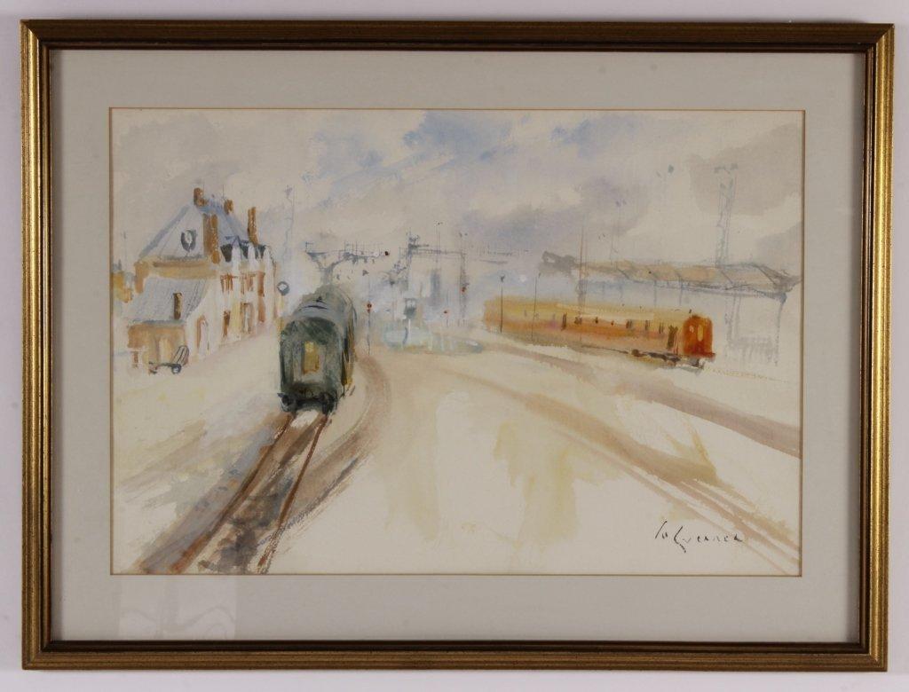Eur. School, Trains, w/c on paper